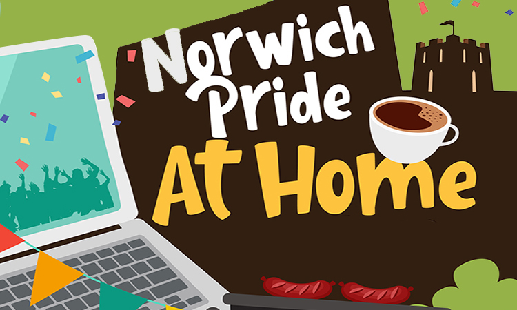 Norwich Pride At Home logo above the skyline of Norwich. Illustration.