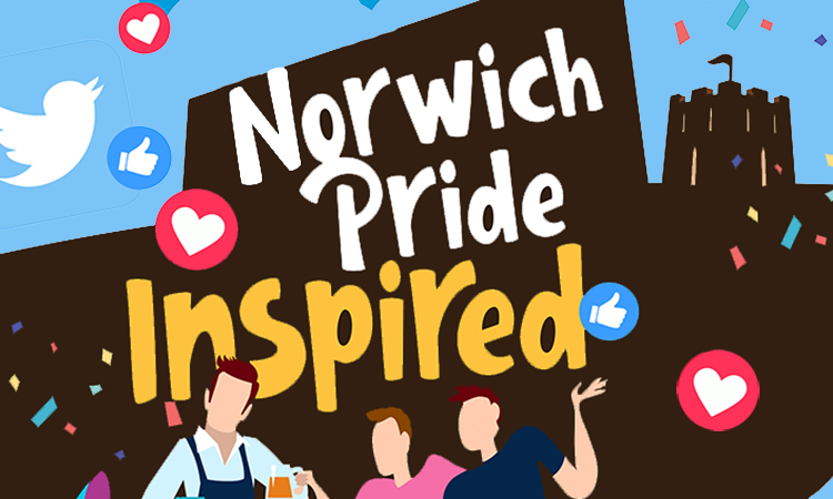 Norwich Pride Inspired logo above the skyline of Norwich. Illustration.